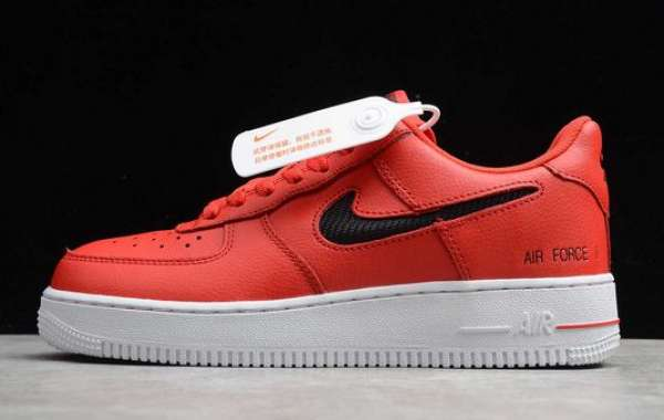 Nike Air Force 1 Low Cut Out Swoosh University Red/Black-White CZ7377-600 Sale