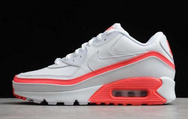 Latest Undefeated x Air Max 90 White Solar Red CJ7197-103 For Sale
