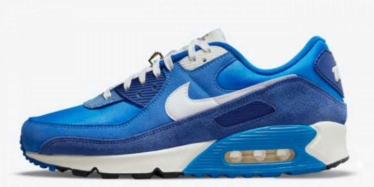 """The Latest 2021 Nike Air Max 90 """"Signal Blue"""" Shoes"""